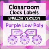 Classroom Clock Labels - Purple Geometric