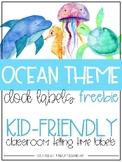 Classroom Clock Labels - Watercolor Ocean Freebie