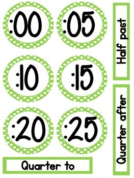 Classroom Clock Telling Time Helpers