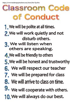Classroom Code of Conduct Poster