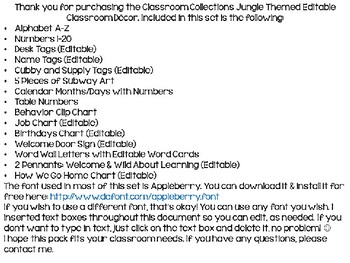 Classroom Collections: EDITABLE Jungle Classroom Decor