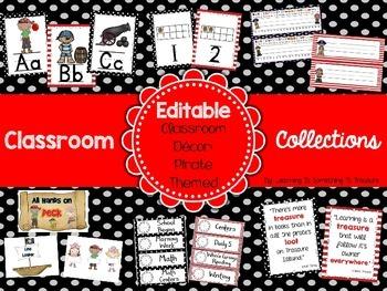 Classroom Collections: Pirate Theme Classroom Decor EDITABLE