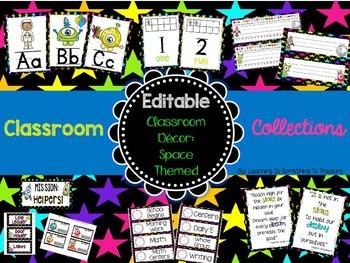 Classroom Collections: Space Theme Classroom Decor *EDITABLE*