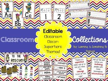 Classroom Collections: Superhero Theme Classroom Decor EDITABLE