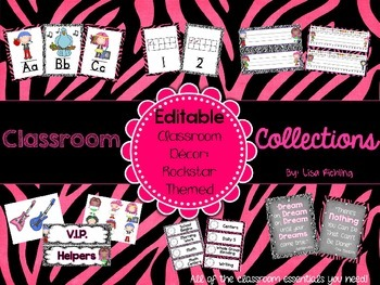Classroom Collections: Editable Rock Star Themed Classroom Decor