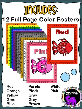 Classroom Color Posters - Rainbow Fish Theme