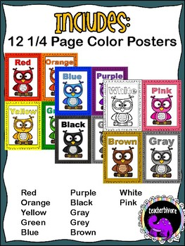 Classroom Color Word Posters - Owl Theme