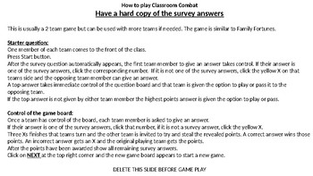 Classroom Combat (Family Fortunes type game)