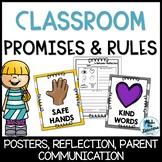 Classroom Promises & Rules (Editable) Behavior Reflections