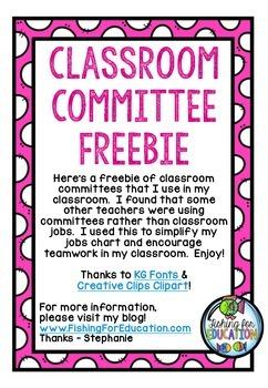 Classroom Committees FREEBIE!