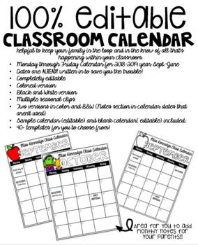 Classroom Community Calendar