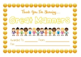 Classroom Community Certificate - Manners
