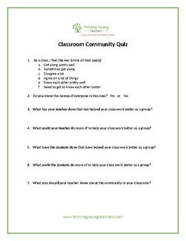Classroom Community Quiz