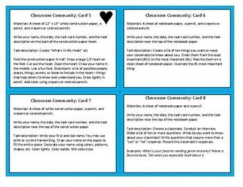 Building Classroom Community: Task Cards