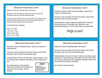 Classroom Community: Task Cards