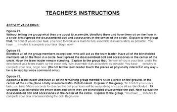 Classroom Community - Teamwork/Comm. Blindfolded Potato Head (SmartBoard)