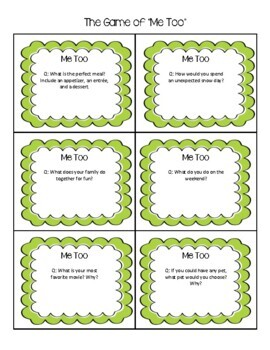 """Classroom Community: The Game Of """"Me Too!"""""""