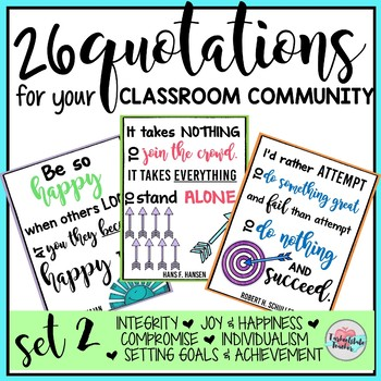 Inspirational Quotes Printables Classroom Community Posters Theme Set 2