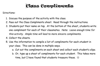 Classroom Compliments Activity Sheet