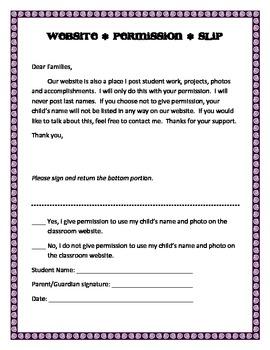 Classroom Computer Contract & Website Permission Form