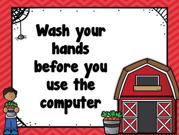 Classroom Computer Rules Posters (Farm Themed)