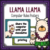 Classroom Computer Rules Posters (Llama Themed)