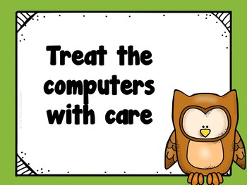 Classroom Computer Rules Posters (Owl Themed)