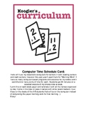 Classroom Computer Time Student Schedule Card