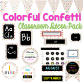 Colorful Confetti Classroom Decor Pack Bundle (Editable)