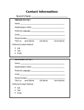 Classroom Contact Form