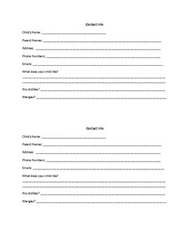 Classroom Contact Info Printable