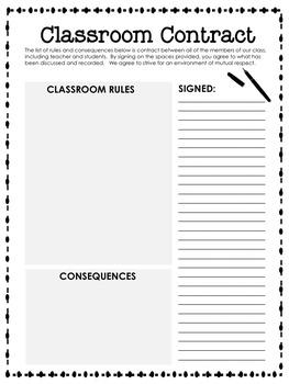 Classroom Contract (Back-to-School Activity)
