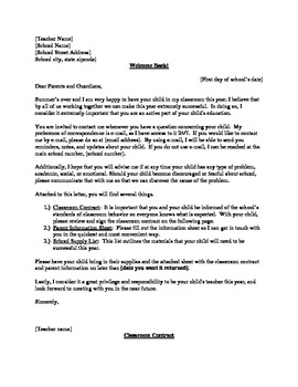 Classroom Contract, Parent Letter/Information Sheet, School Supply List
