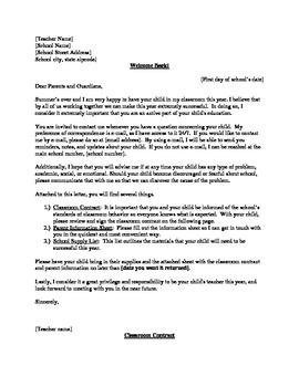 Classroom Contract, Parent Letter/Information Sheet, Schoo