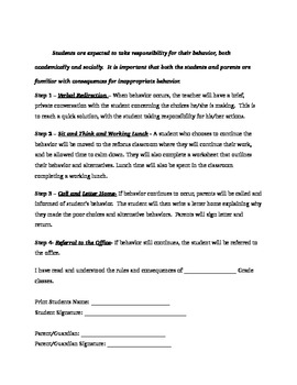 Classroom Contract for Middle School Students