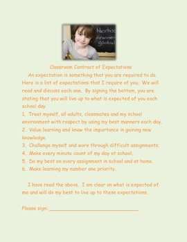Classroom Contract of Expectations