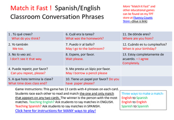 Classroom Conversation SPANISH/ENGLISH  MATCH IT FAST!