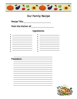 Classroom Cookbook: Thanksgiving Recipe Book Project