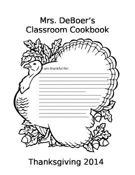Classroom Cookbook: Thanksgiving Recipe Book Project