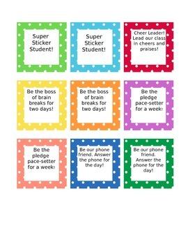 Classroom Coupon Cards