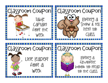 Classroom Coupons... 20 different classroom rewards to choose