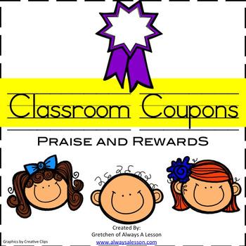 Classroom Praise and Reward Behavior Coupons