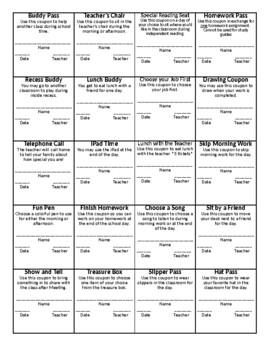 Classroom Coupons - Behavior Reward (No Pictures)
