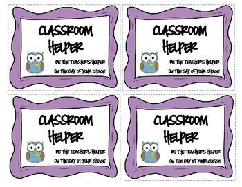 Classroom Coupons - Owl Theme