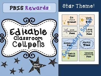 Classroom Coupons, PBIS Rewards EDITABLE- Stars Theme