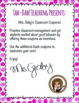 Classroom Coupons With Labels and Binder Cover
