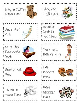 Classroom Coupons for Rewards K-4