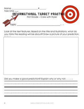 Common Core - Target Practice Informational 1st grade by Classroom Couture