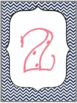 Classroom {Cubbie} Numbers Freebie {Navy, Coral, Turquoise, Gray}