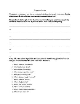 Classroom Culture: Building Relationships - Friendship Survey